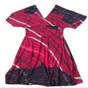 Bisou Bisou kimono-inspired sleeves v-neck dress